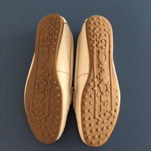 Coach Shoes - Coach Fredrica Cream Pebble Grain Leather Flats